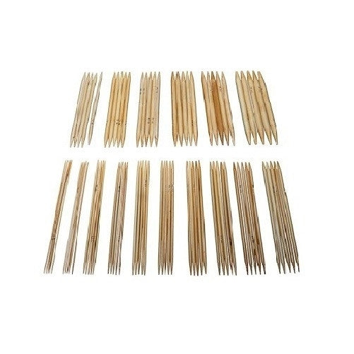 "80 pieces of 25cm/10"" Bamboo Knitting Needles (2mm-12mm) Double Point with Case - Crochet"