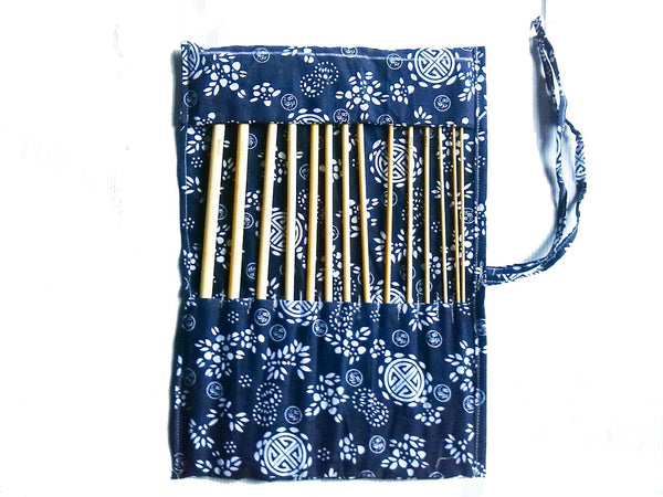 "14 pcs of bamboo afghan 34cm/14"" crochet hooks with case - wood craft set"
