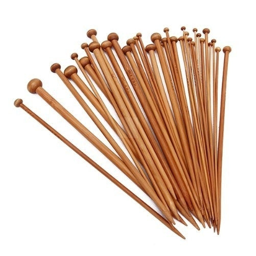 "18 pairs/36pcs of Single Pointed Bamboo carbonised patina knitting needles 34cm/14"" with Case (2mm-12mm Set) - crochet"