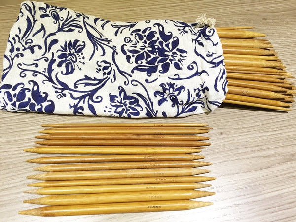 "80 pieces of 20cm/8"" Bamboo Knitting Needles carbonized (2mm-12mm) Double Point with Case - Crochet"