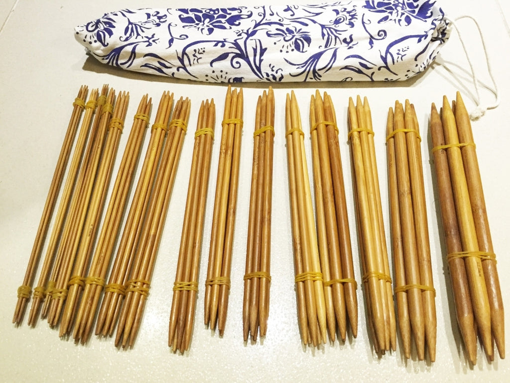 "80 pieces of 22cm/9"" Bamboo Knitting Needles carbonized (2mm-12mm) Double Point with Case - Crochet"