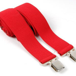 Mens Braces Plain Red, adjustable heavy Duty 50mm 2""