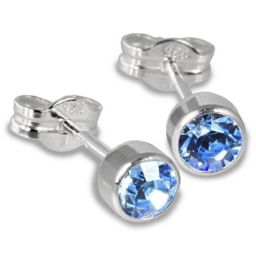 Sterling silver cubic zirconia unisex stud earrings 2 carat - light blue