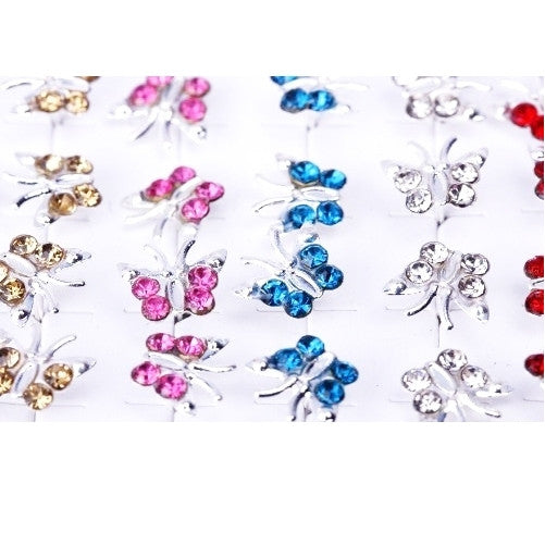 20 Pairs of Butterfly Crystal Rhinestone Silver Ear Stud Earrings