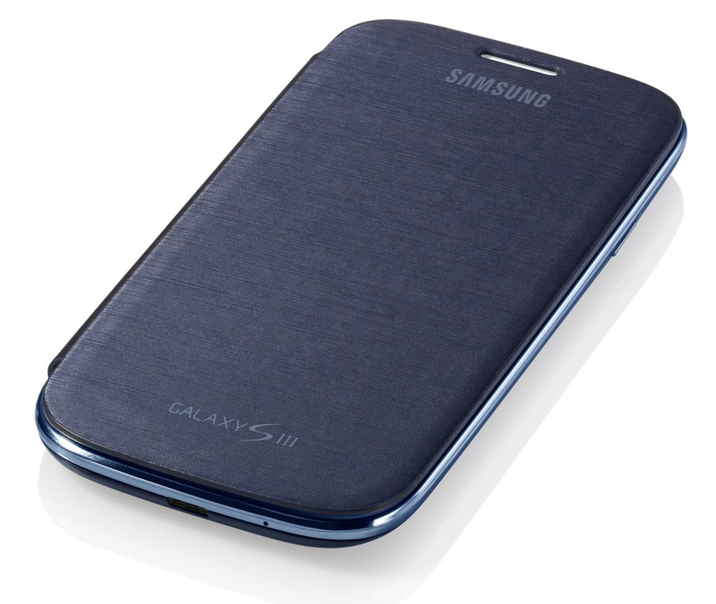 Samsung Notebook Style Flip Cover Case for Samsung Galaxy S3 I9300 - Chrome/Blue