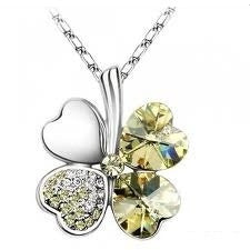 "Yellow Citrine - Swarovski elements crystal four leaf clover pendant necklace 19"" with a gift box"