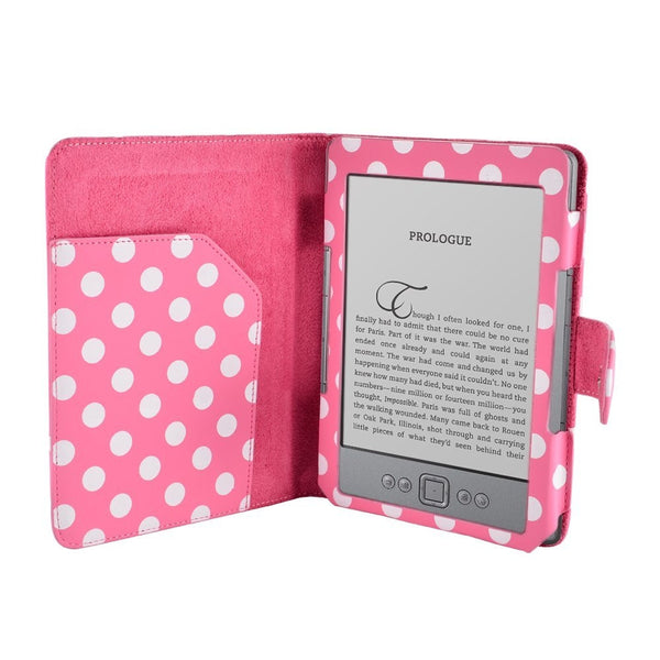 "Polka Dot Spot Luxury Leather Case for 6"" AMAZON KINDLE 4 WI-FI/3G eReader with Card Holder - Pink/Rose"