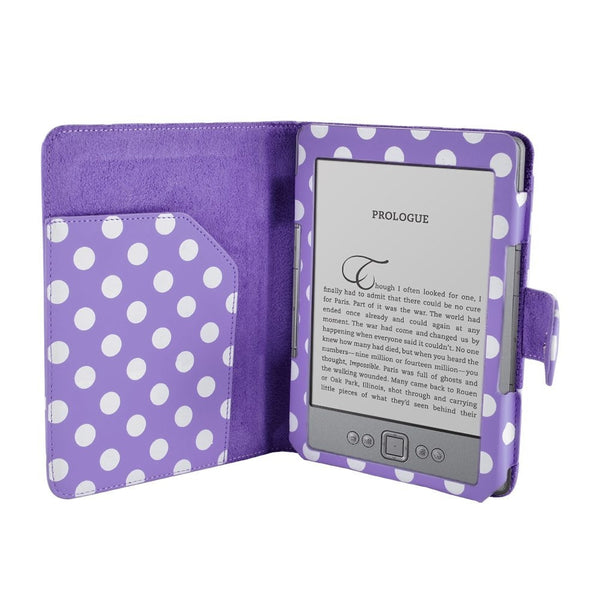 "Polka Dot Spot Premium Leather Case for 6"" AMAZON KINDLE 4 WI-FI/3G eReader with Card Holder - Purple"