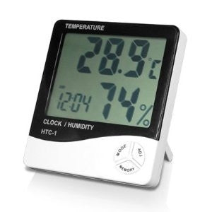 LCD Digital Thermometer for temperature and humidity, with clock and alarm