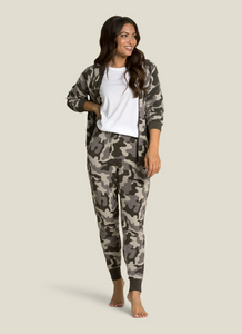 CozyChic Ultra Lite Camo Zip-Up Bomber in Linen
