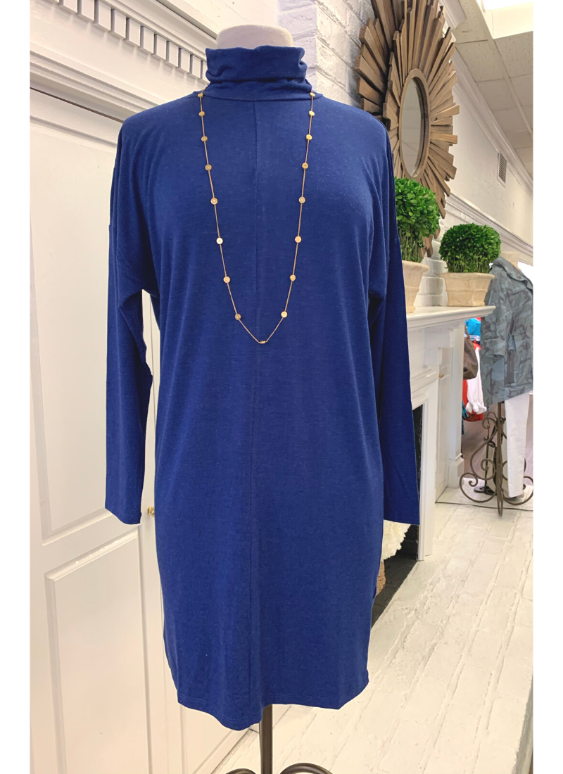 Blue Aspen Turtleneck Dress
