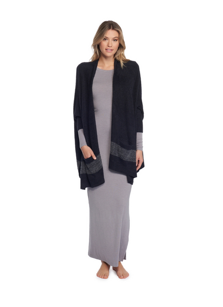 CozyChic Lite Cliffside Wrap in Black/Graphite Stripe