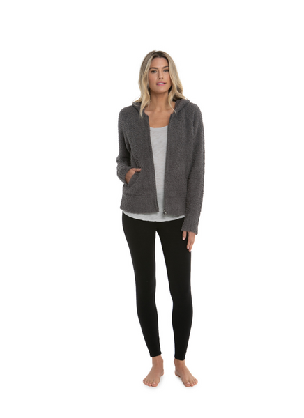 CozyChic Women's Relaxed Zip Up Hoodie in Ash