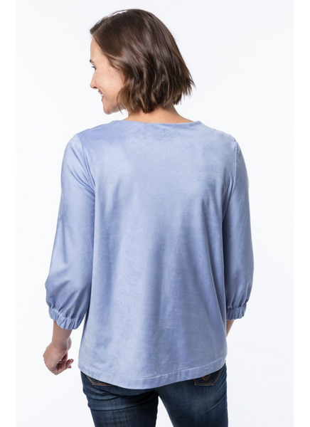 Elliza Faux Suede Top in Sky