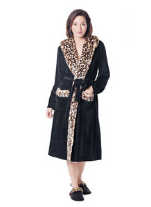 Fur Trimmed Robe in Black