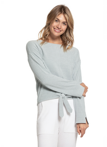 CozyChic Ultra Lite Tie Front Top in Blue Water