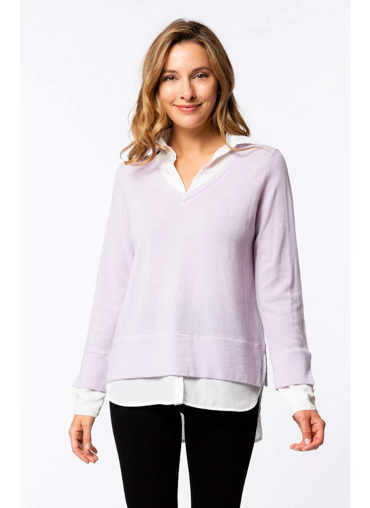 Cashmere Shirted Body Sweater in Pink Amethyst