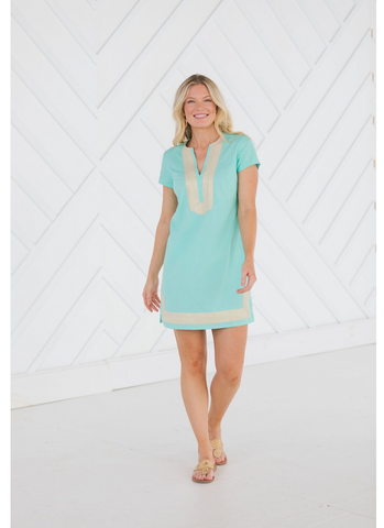 Short Sleeve Tunic Dress in Mint