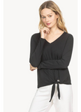 Long Sleeve Tie Front Top in Black