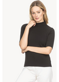 Elbow Sleeve Mock Neck Tee in Black