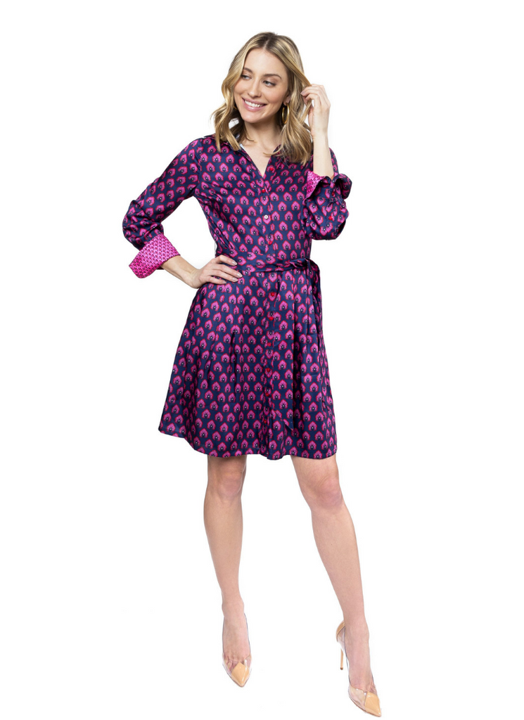 Mary Jane Shirt Dress in Navy