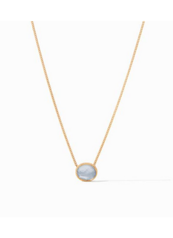 Verona Solitaire Necklace in Iridescent Blue