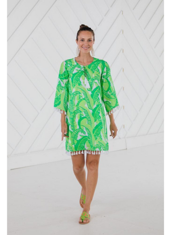 Tassel Tunic Dress in Palm Print