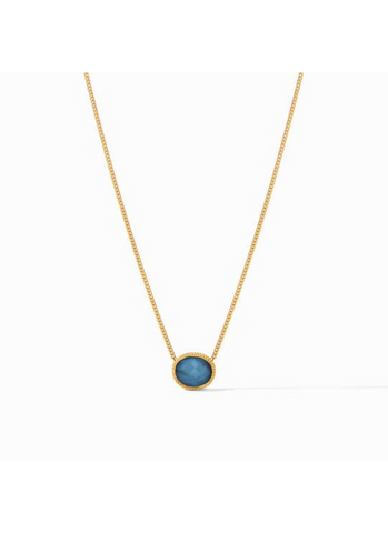 Verona Solitaire Necklace in Azure Blue