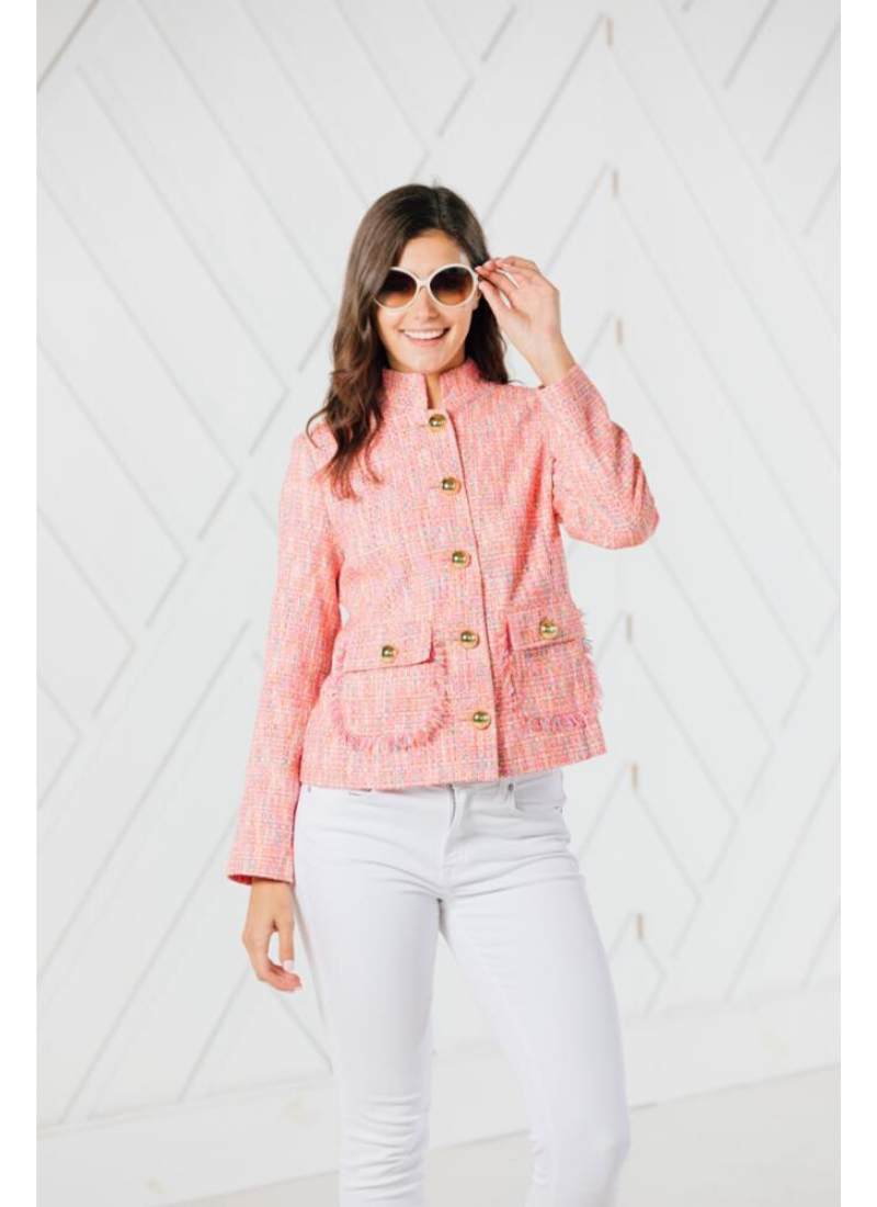 Short Button Up Jacket in Neon Tweed