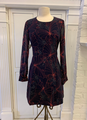 Julia Sheer Sleeve Dress in Navy