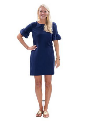 Dockside Flounce Dress in Navy