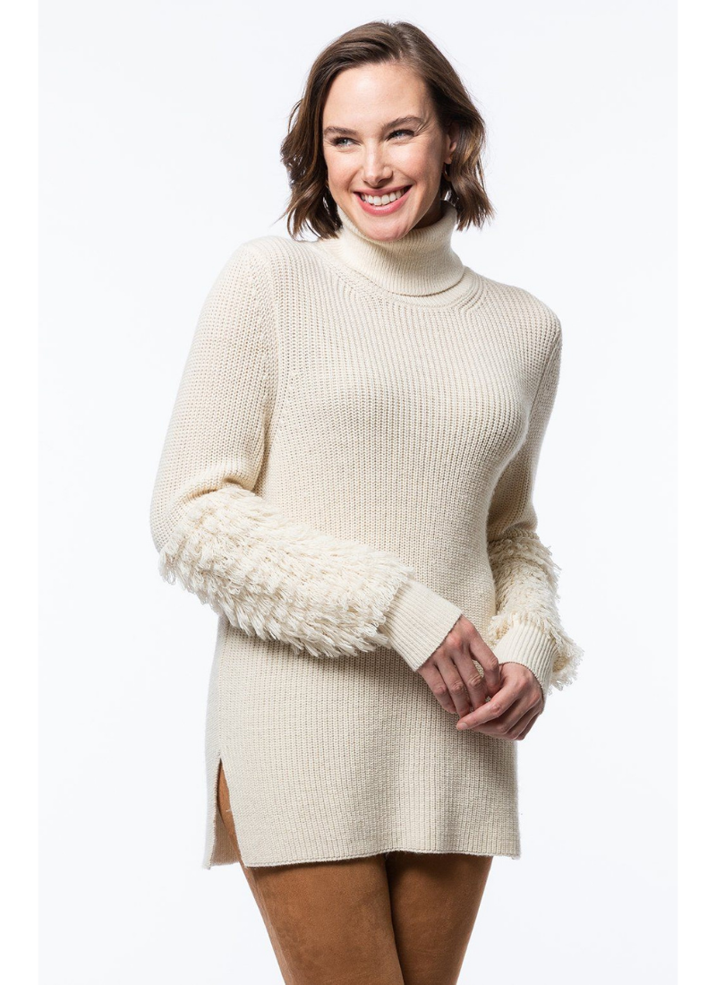 Trimmed Sleeve Turtleneck in Pearl
