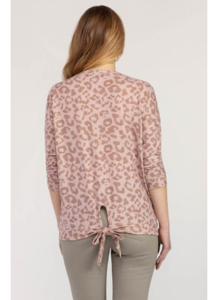 Leopard Tie-Back Shirt in Cameorose