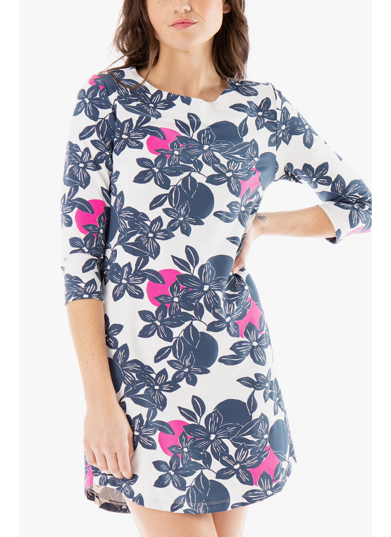 Hinckley Dress in White/Navy/Pink