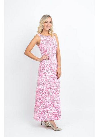 Charleston Girl Maxi Dress in Floral Fun Pink