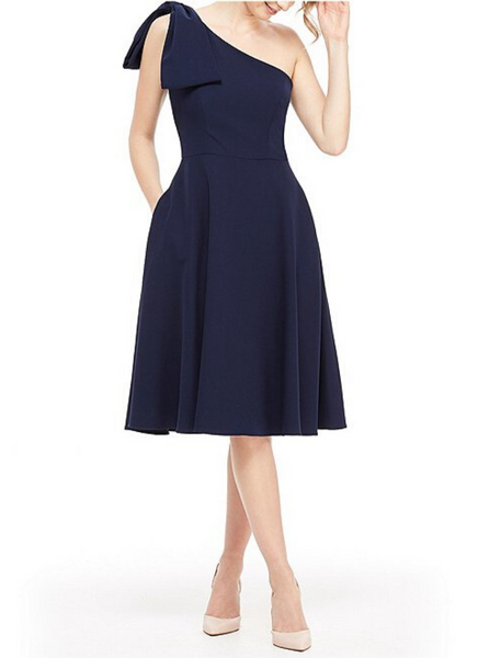 Bow Shoulder Dress in Navy