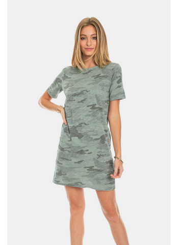 Camo Crew T-Dress in Coastal Sage