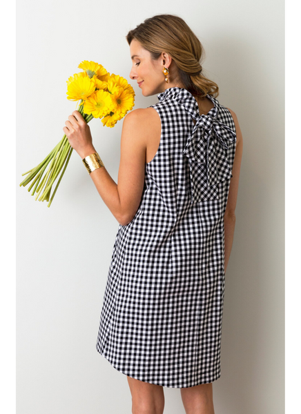 Stella Gingham Dress in Black and White