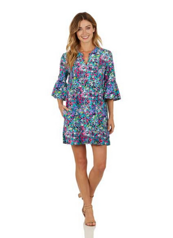 Kerry Dress in Watercolor Floral Navy