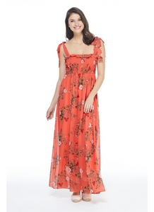 Tie Shoulder Floral Maxi in Orange