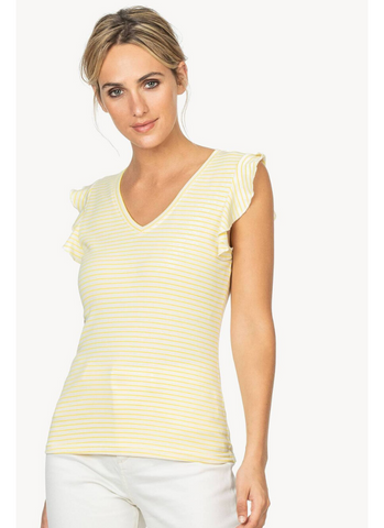 Ruffle Sleeve V-Neck in Lemon Stripe