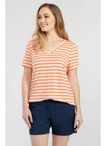 Striped Henley Top in Tangerine