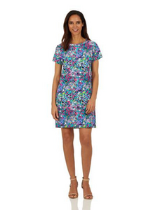 Ella Dress Watercolor Floral Navy