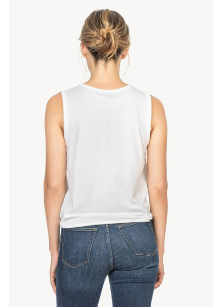 Tie Front Tank in White