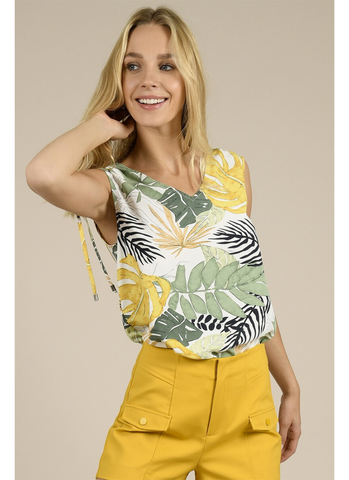 Sleeveless Tropical Top in Tropical White