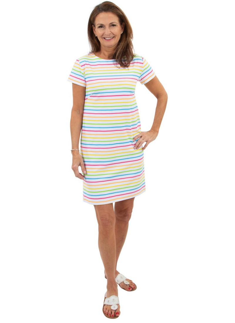 Marina Dress in Tutti Fruity Summer Stripe