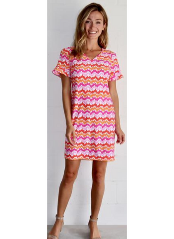 Nina Dress in Wavy Stripe