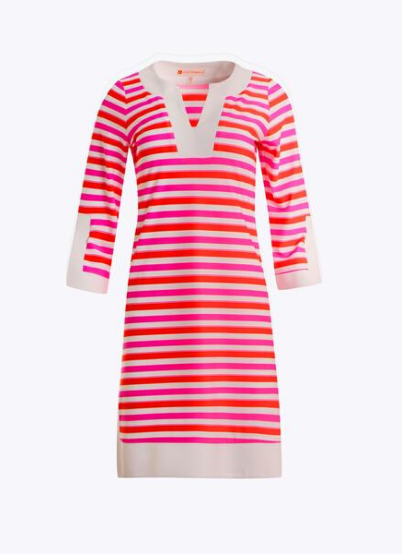 Holly Dress in Tonal Stripe Hot Pink