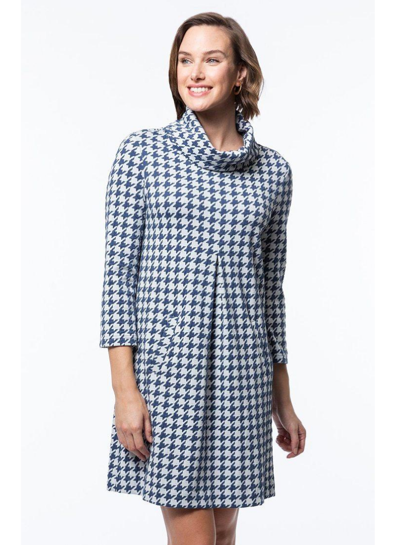Kim Cowl Dress in Giant Houndstooth