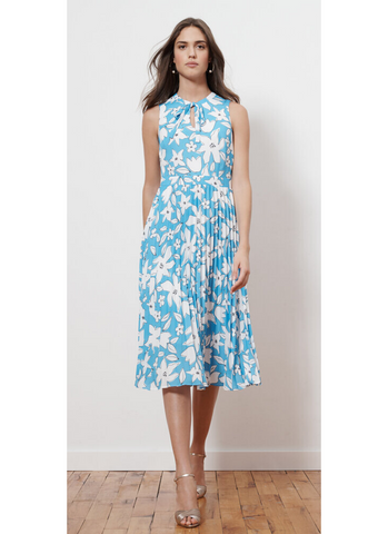 Blue Floral Midi Dress with Pleated Skirt